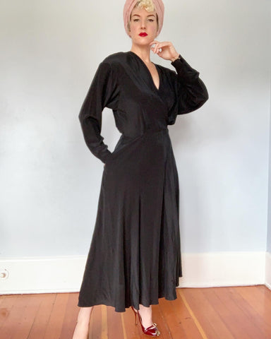 "Deadstock with Tags 1980s does 1940s Silk ""Ralph Lauren"" Bias Cut Maxi Dress with Pockets"
