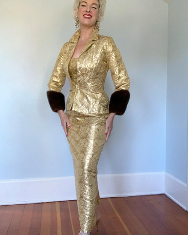 "Couture 1950s ""Milgrim"" 2 Piece Silk Gold Lame' Halter Gown & Matching Hourglass Jacket with Huge Mink Cuffs"