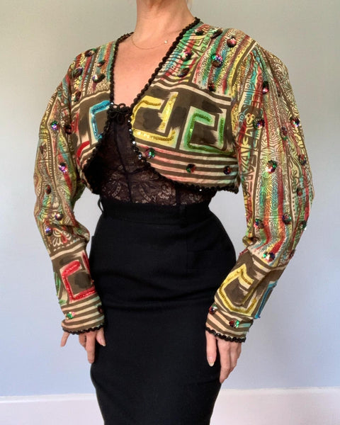 Unusual 1950s Handmade Mexican Cotton Hand Painted / Sequined Bolero Jacket