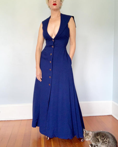"1960s ""Pauline Trigere"" Linen Nautical Inspired Maxi Dress with Halter Sailor Bib Collar & Plunging Neckline"
