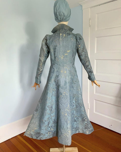 1930s French Embroidered Floral Silk Brocade Fit n' Flare Princess Coat