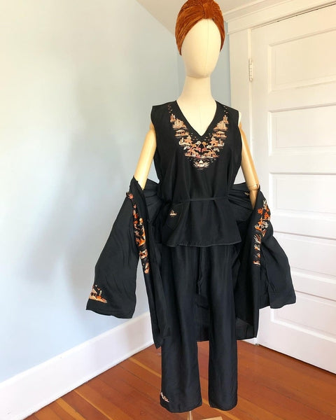 1920s Pongee Silk Hand Embroidered 3 Piece Lounging Pajama Set