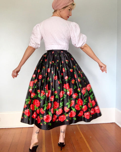"1970s Designer ""Saint Laurent Rive Gauche"" Polished Cotton Full Maxi Skirt with Red Roses Print & Tie Belt"