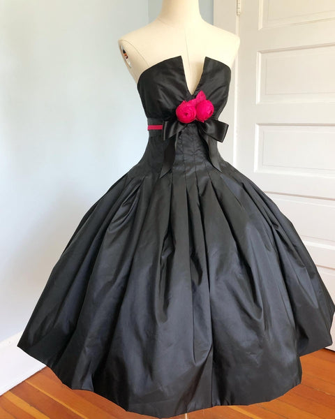 "1980s does 1950s Taffeta Structured Party Dress by ""Victor Costa for Bergdorf Goodman on The Plaza, New York"""