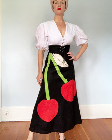 "1970s Wool Felt Maxi Skirt with Huge Cherries Applique & Lace Up Corset Waist by ""Trivia by Charm of Hollywood"""