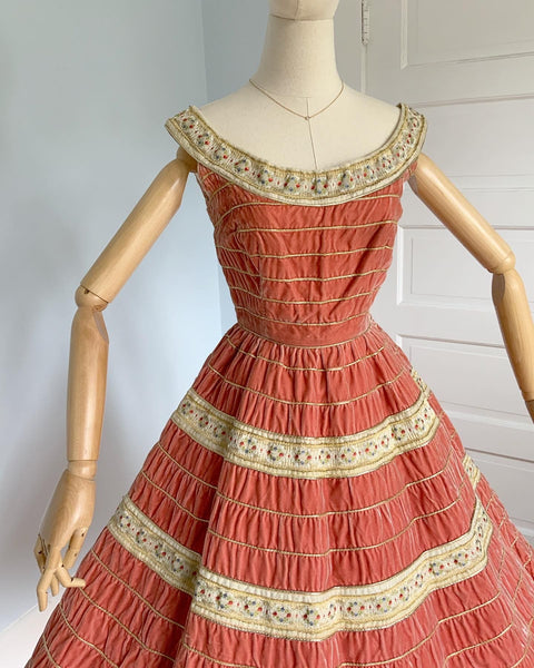 "1950s Italian Couture Velvet with Floral Embroidered Ribbon & Metallic Gold Thread Party Dress by ""Mirella"""
