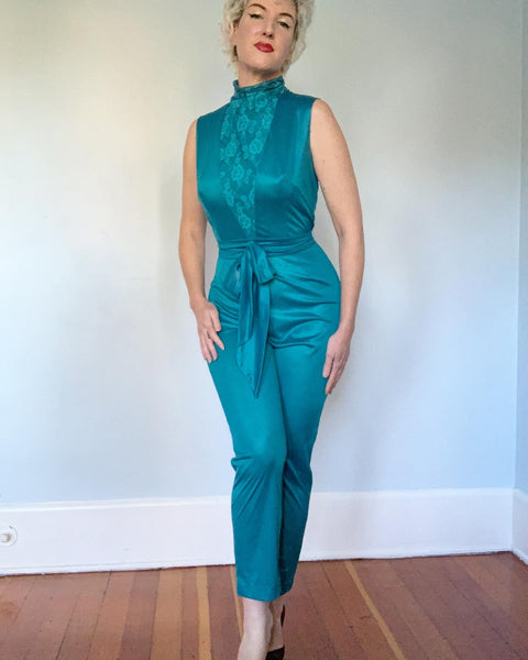 "1960s Sex Kitten Nylon Jersey Hourglass Lounging Jumpsuit with Tie Belt by ""Jer Marai"""