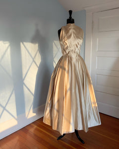 "Couture 1950s Silk Peau de Soie Gown by ""Edith Head"" for Kim Novak with Note"