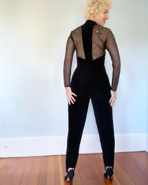 "1990s Flame Illusion Rhinestoned Bodice ""Bad Girl"" Stretch Spandex Jumpsuit by Cache'"