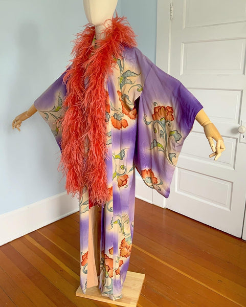 1930s Hand Painted Japanese Silk Kimono with Ostrich Feather Boa Trim