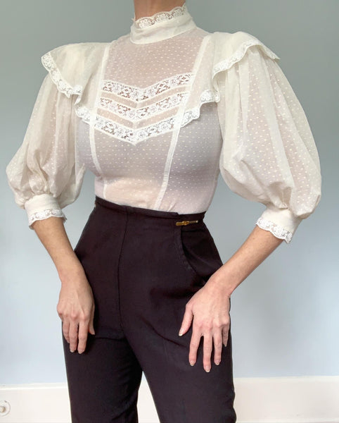 1970s Semi Sheer Cotton Swiss Dot Hourglass Victorian Inspired Blouse with Huge Balloon Sleeves