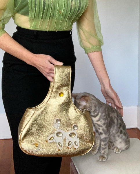 "1950s Metallic Gold Leather Bejeweled Poodle Theme Purse by ""Esta of Miami"""