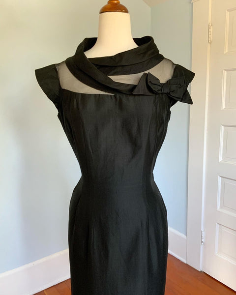 "1950s Sculptural Illusion Bust Polished Cotton Hourglass Cocktail Dress by ""Charles Warren Original"""