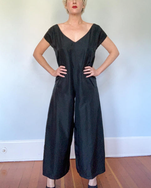"1980s ""Donna Karan"" Pure Silk Oversized Lounging Wide Leg Jumpsuit with Pockets"