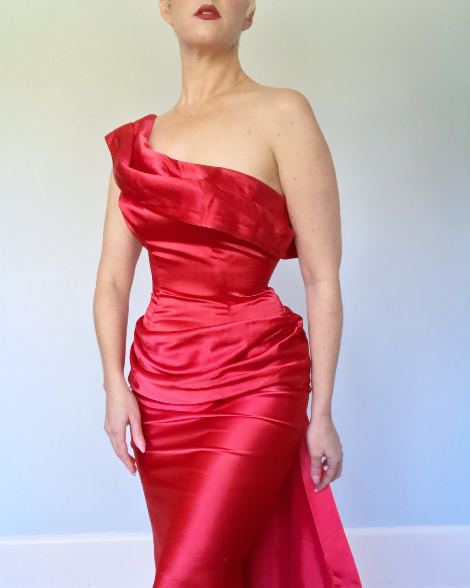 "1950s ""Beaumelle Originals"" Liquid Satin Bombshell Cocktail Dress"