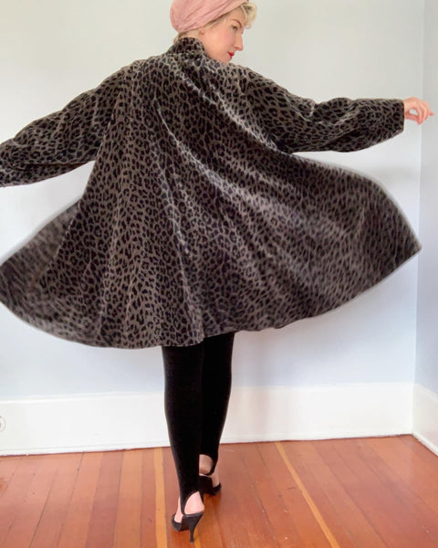 "1980s Water Repellent Cotton Velvet Leopard Print Dramatic Trapeze Coat by ""Coats by Cattiva"" in ""J.L. deBall Velvet"""