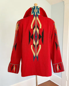"1940s Hand Woven Native American Chimayo Blanket Coat with Silver Concho Buttons by ""Ganscraft"""