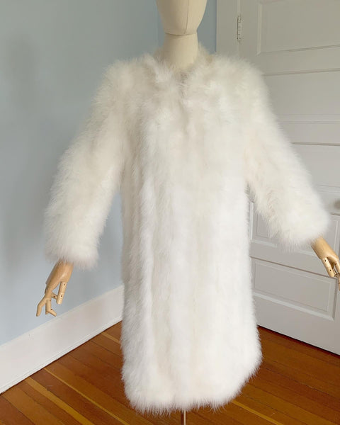 1960s White Marabou Feather Coat Lined in Satin