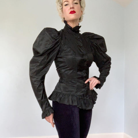 "1970s Early ""Betsey Johnson"" Punk Label Rayon Taffeta Edwardian Inspired Blouse with Huge Puffed Shoulders & Ruffled Peplum"