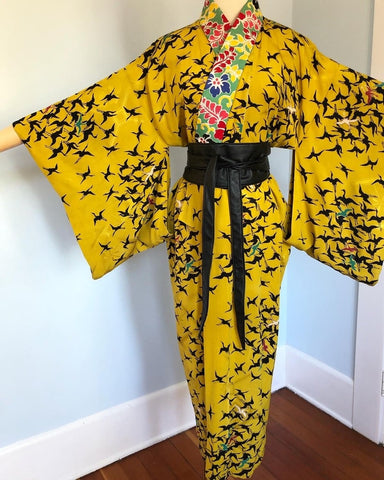 Antique Handmade Chartreuse Silk Japanese Nagajuban with Flying Cranes