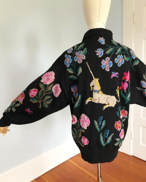 "Gorgeous 1980s Soft Wool Magical Unicorn Sweater Hand Knit in Scotland by ""Jamie & Jessi Seaton"""