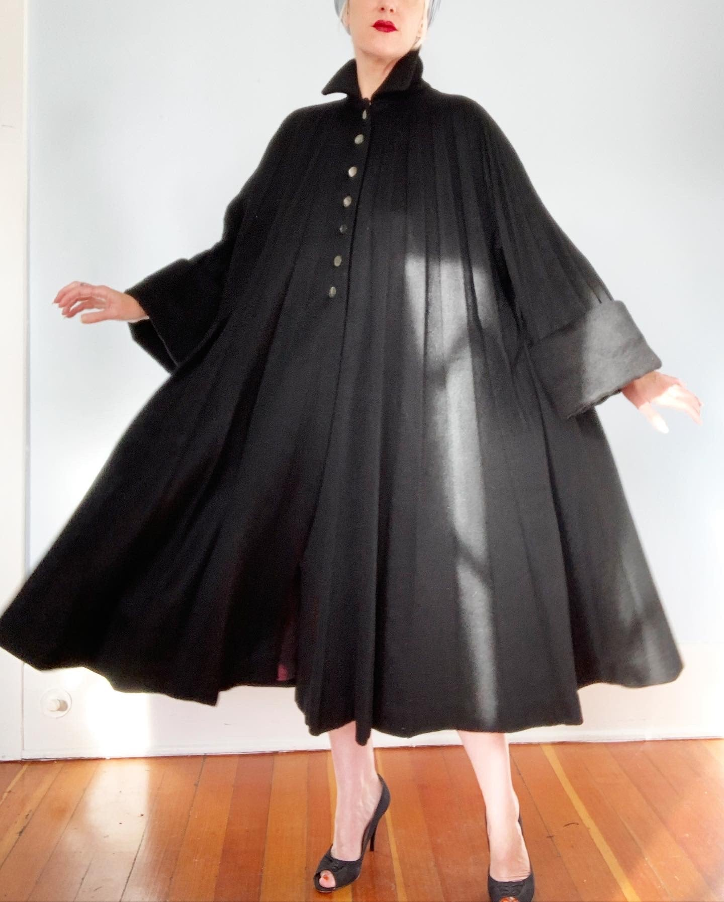 "1952 Documented ""Lilli Ann of Paris & San Francisco"" Accordion Pleated French Wool Mohair Trapeze Coat"