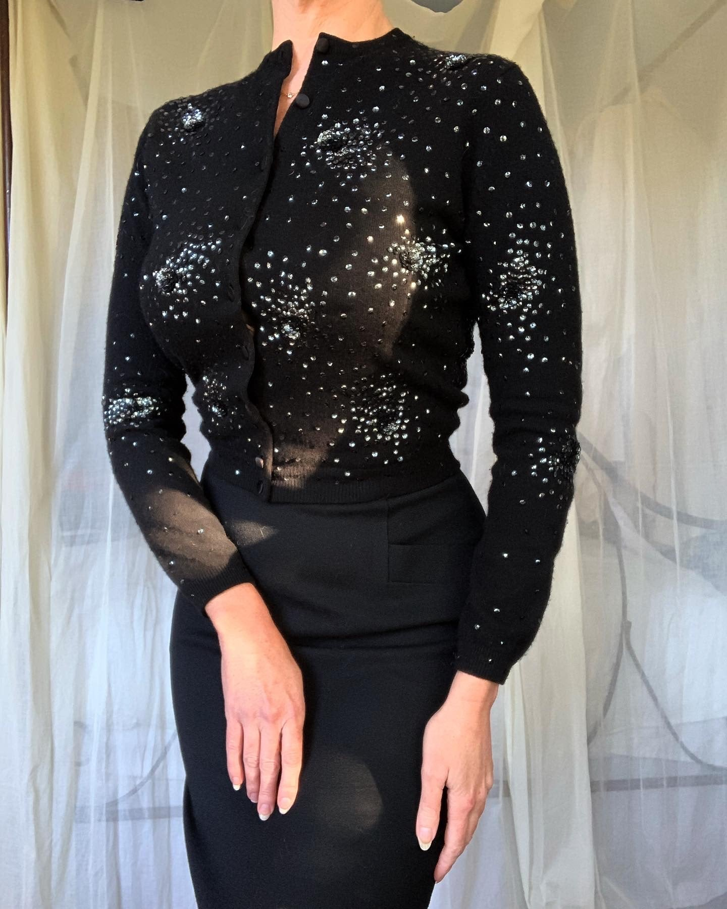 "1950s Pure Cashmere Button Up Sweater with Hand Sequined Sparkling Starbursts by ""Gala of California"""