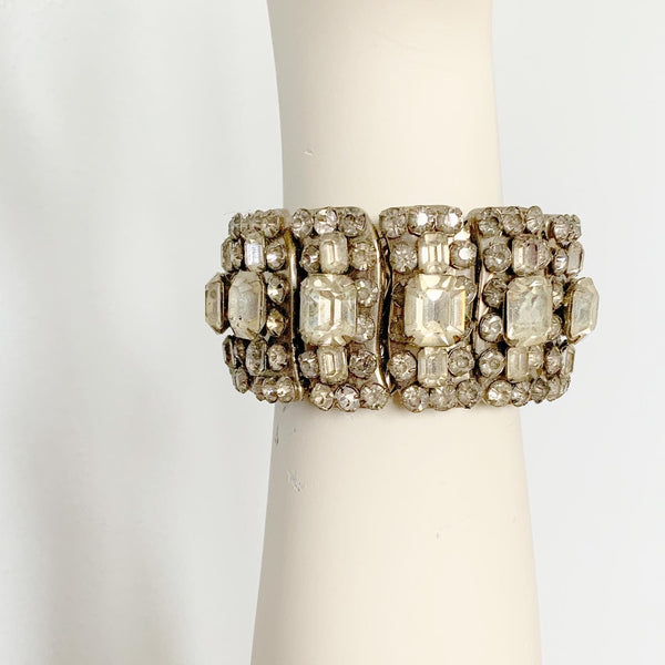 Huge 1950s Metal Prong Set Sparkling Crystal Rhinestones Expanding Statement Bracelet