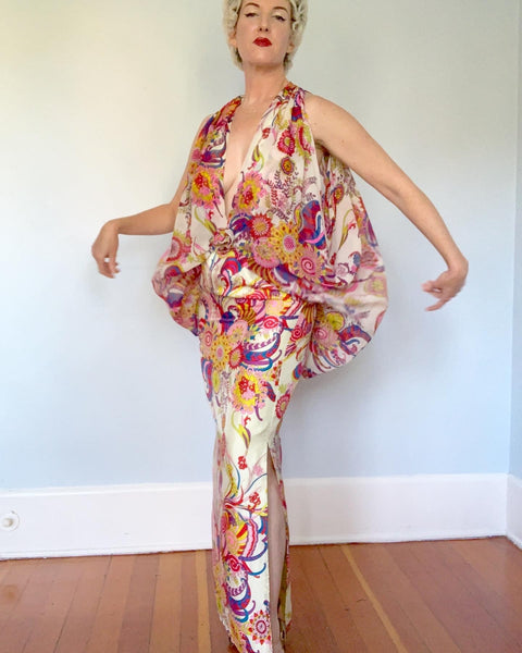 1960s One of a Kind Handmade Psychedelic Floral Silk Evening Gown with Plunging Draped Bodice