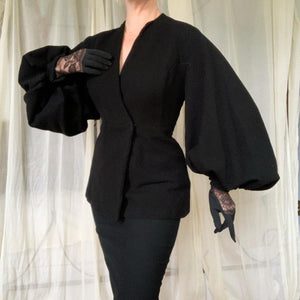 "1940s Wool Crepe Parachute Sleeve Hourglass Suit Jacket by ""Lilli Ann California Original"""