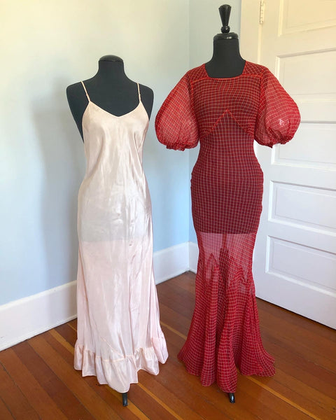 1930s Bias Cut Silk Chiffon Balloon Sleeve Gown with Matching Slip