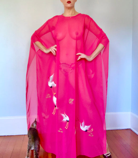 1970s Sheer Chiffon Caftan with Embroidered Cranes & Matching Underdress