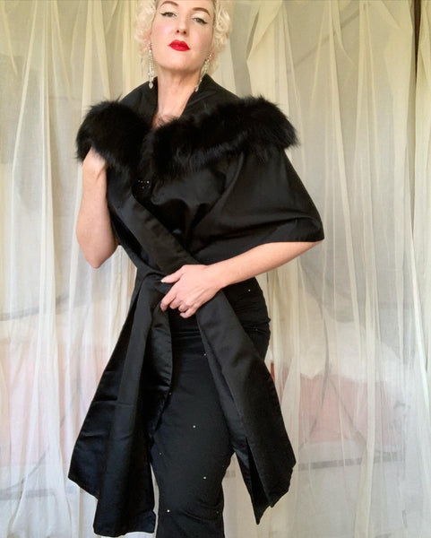 "1950s Custom Made Silk Peau de Soie Wrap with Huge Fox Fur Trimmed Portrait Collar by ""Saks Fifth Avenue"""