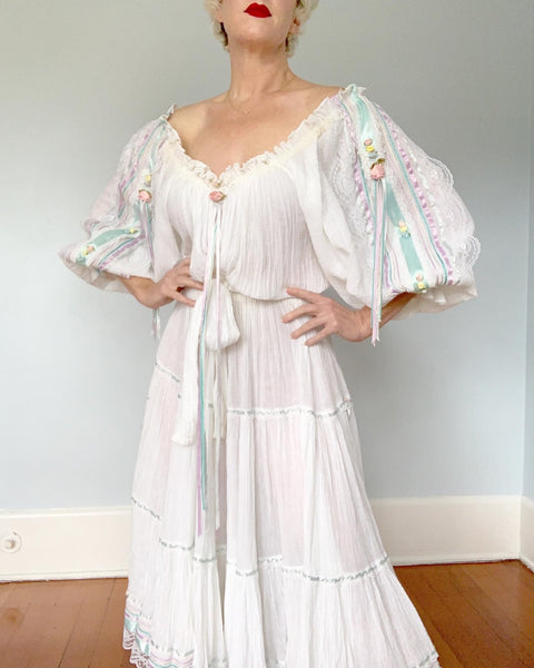 "1970s / 1980s  ""Anna Konya"" Cotton Gauze Dream Peasant Dress"