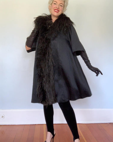 1950s Matte Satin Dramatic Trapeze Coat Trimmed in Ostrich Feathers