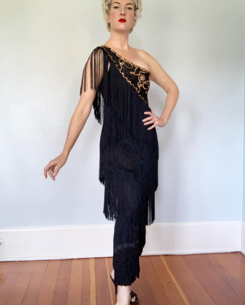 French Couture 1960s Silk Jersey One Shoulder Fully Fringed Hourglass Evening Gown with Sequined Bodice