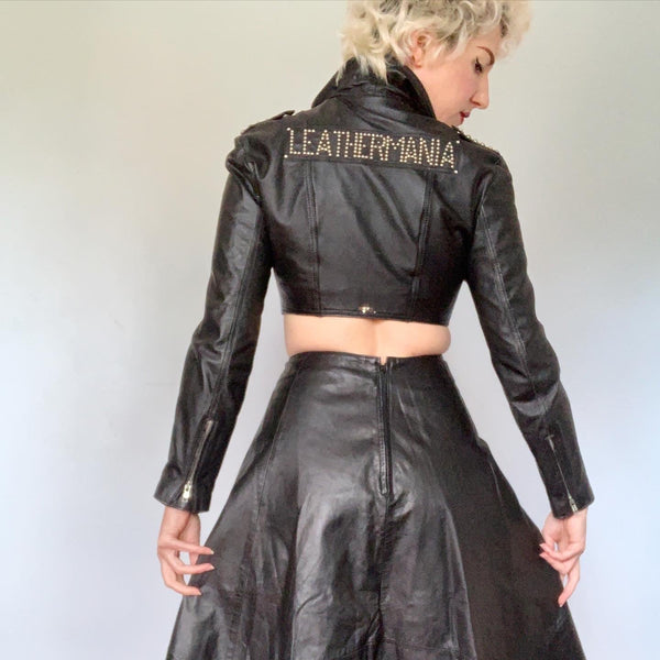 1980s / 1990s LEATHERMANIA Ultra Fitted & Cropped Hand Customized Leather Jacket