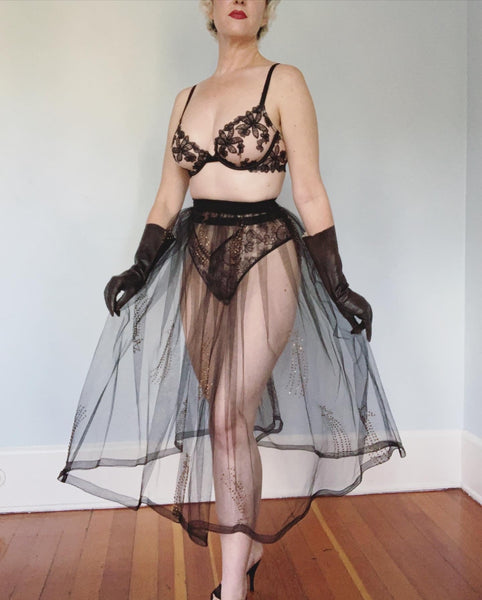 1950s Sheer Tulle Crinoline Skirt with Hand Painted Glitter Shooting Stars