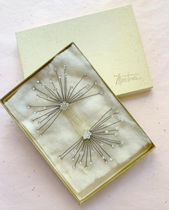"1950s Handmade Crystal Rhinestone Sparkling Starburst Set of Hair-combs by ""Marston's"" in Original Box"