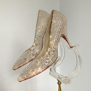 "1950s Custom Made by Hand Sparkling Crystal Rhinestone Encrusted High Heels by ""Henni Last - Creations by Lorenzo"""""