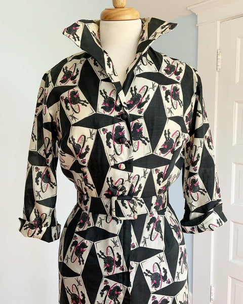 "1950s Silk French Poodle Novelty Print Cocktail Shirtwaist Dress with Belt by ""Original Lucinda California"""