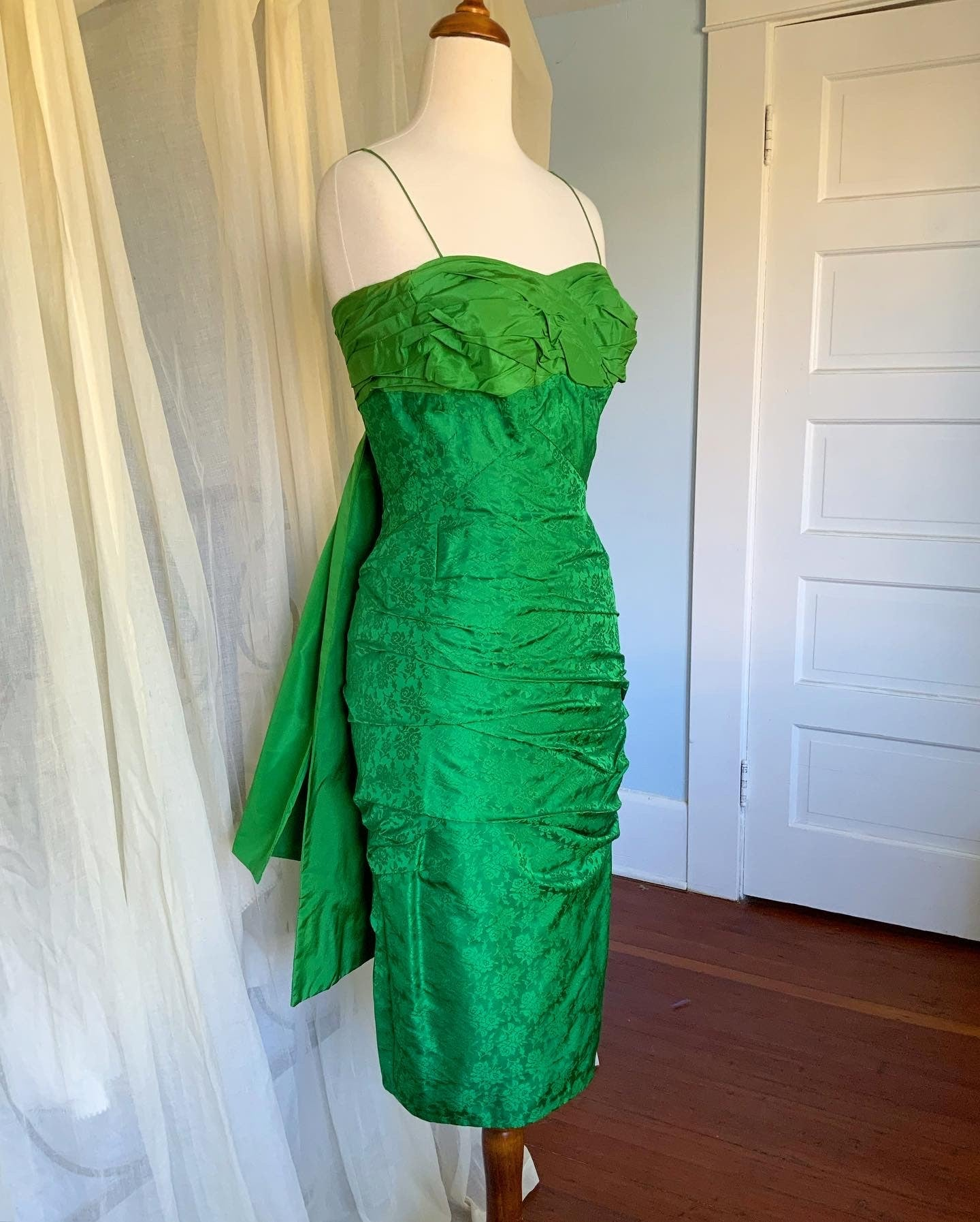 Couture 1950s Draped Silk Brocade Hourglass Cocktail Dress with Obi Style Draped Back Bow