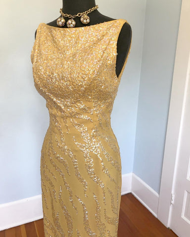 1950s Custom Made Silk Crepe Hourglass Evening Gown with Iridescent Hand Sequined Flames