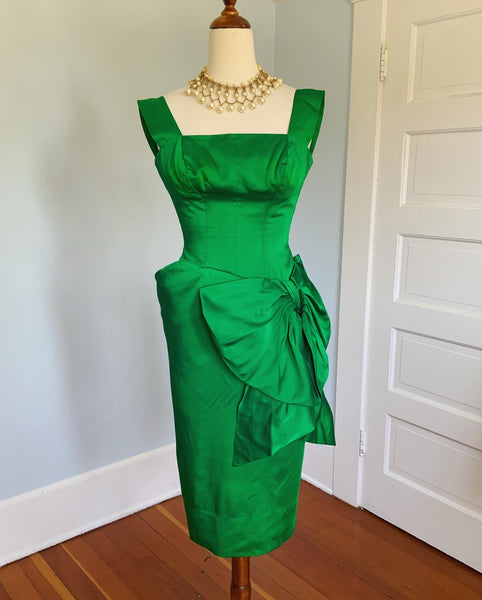 "1950s Emerald Liquid Satin Custom Made Cocktail Dress by ""Nikki's of Hollywood"""