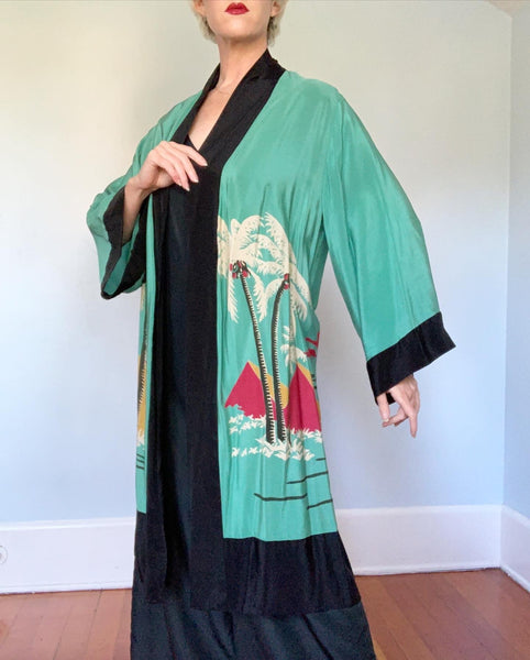 Rare 1920s Silk Lounging Jacket / Robe with Hand Printed Egyptian Revival Motif