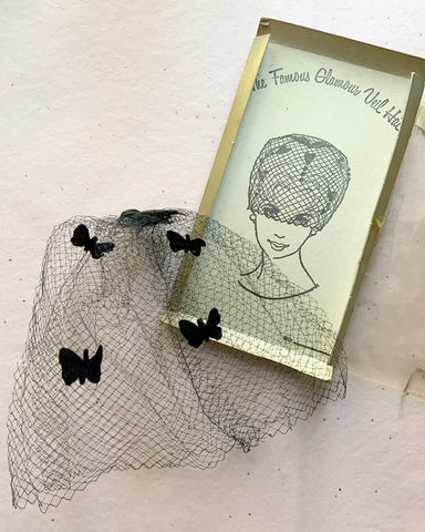 "1950s ""The Famous Glamour Veil Hat"" Birdcage Veil with Black Velvet Butterflies and Original Box"