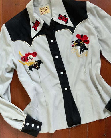 "1940s Wool Gabardine Western Blouse with Chain-Stitched Rodeo Clown & Laughing Horse Motif by ""An Idlehour Casual by Sigmund Eck Denver"""