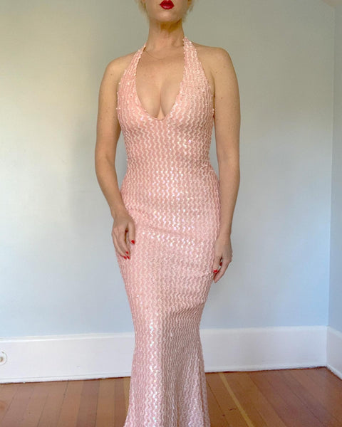 1970s does 1950s Bombshell Pink Lurex with Iridescent Sequins Halter Mermaid Gown