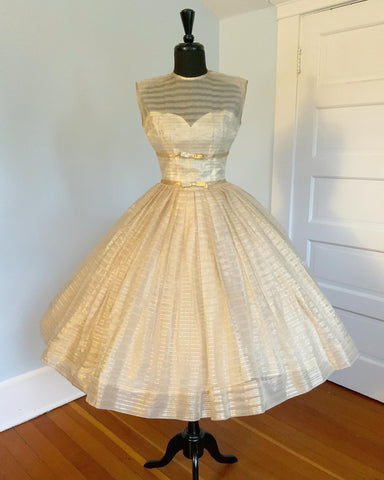 1950s Sheer Silk Organza with Gold Lurex Stripes Over Satin Illusion Bust Party Dress