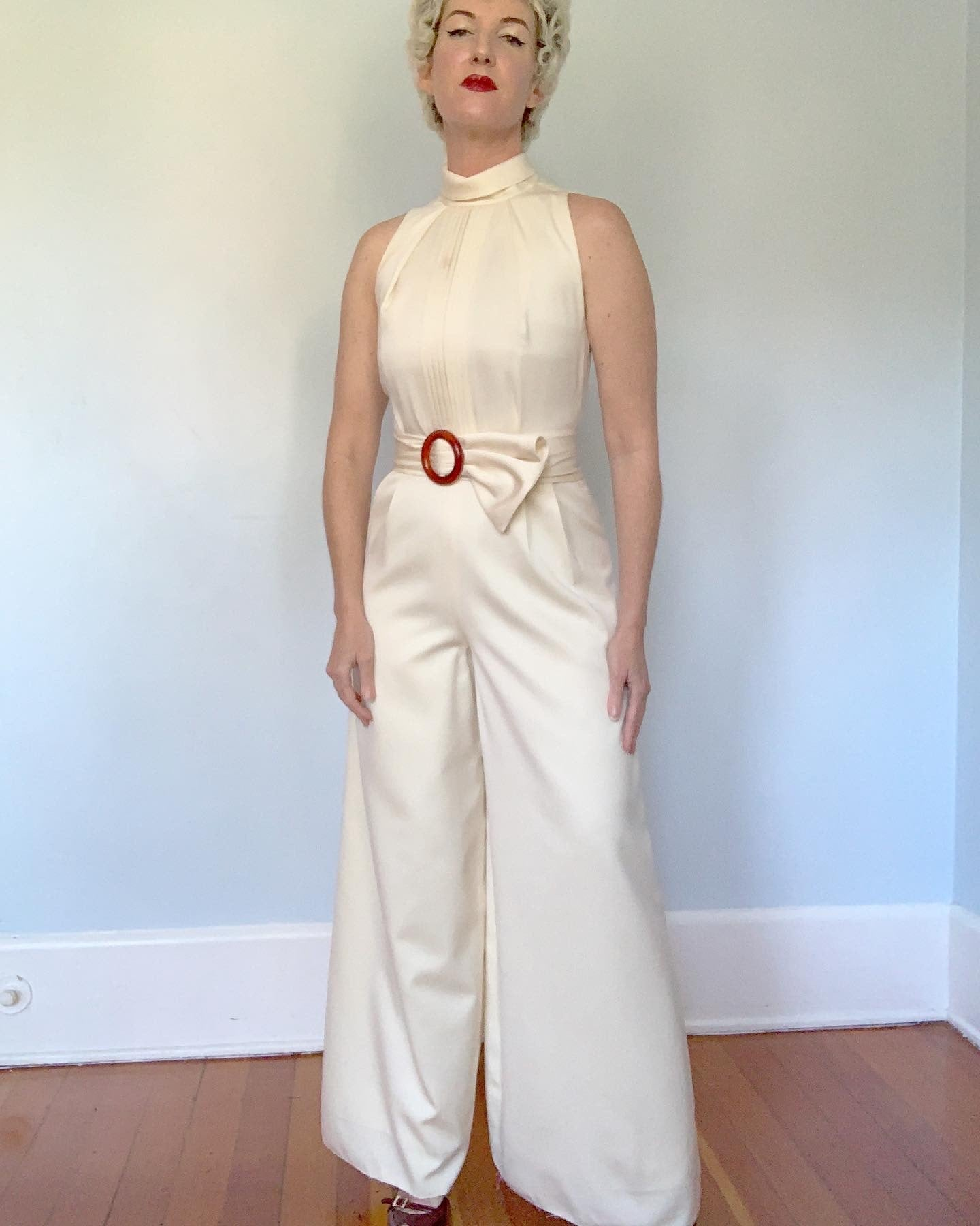 "1960s Matte Cream Satin Wide Leg Tuxedo Jumpsuit with Wide Sash Belt by ""Richmond Garden"" for ""Saks Fifth Avenue"""